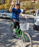 Sir Paul McCartney on a green bike. Santiago 2014