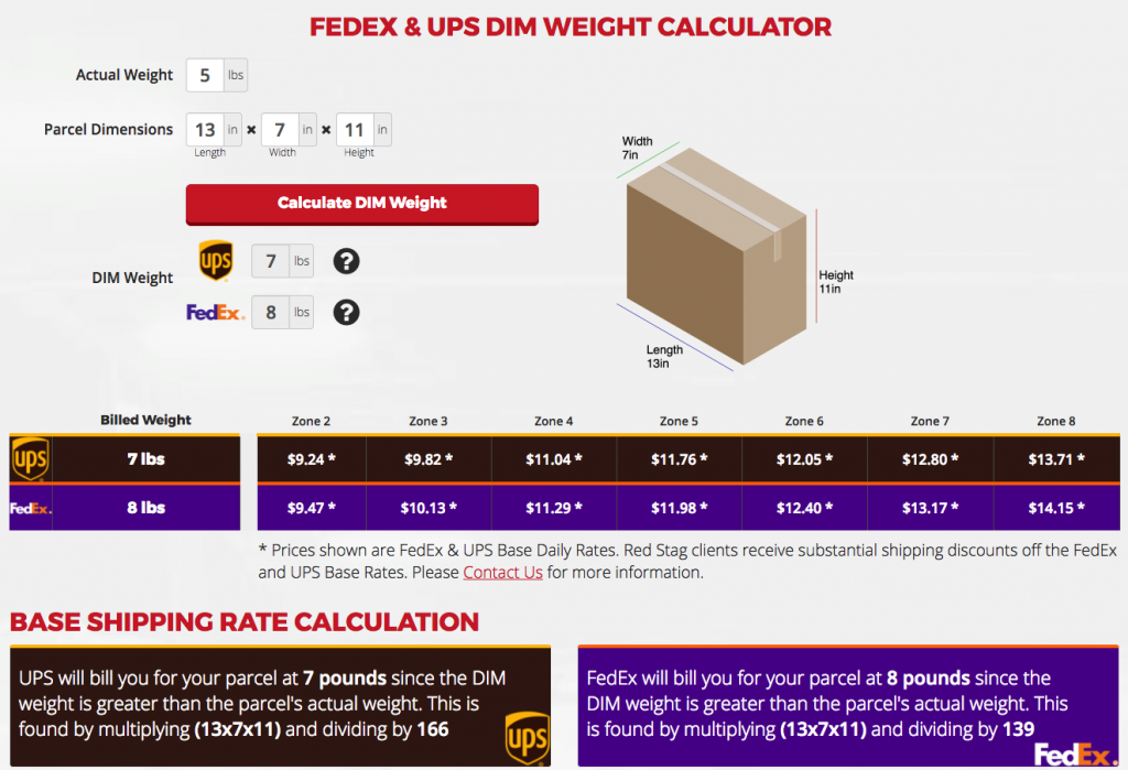 RSF DIM Weight Calc